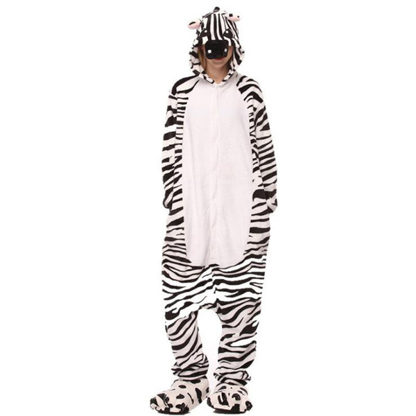 Women Onesie Animal Zebra Pajama Funny Adult Party Suit Flannel Loose Casual Warm Sleepsuit Cartoon Jumpsuit Girls Winter Outfit