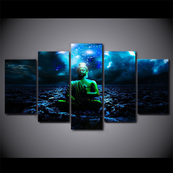 5 Piece Framed HD Printed Buddhist Night Buddha Still Life Canvas Painting Wall Art Picture Home Decor For Linving Room