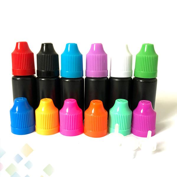 10 ml 30 ml Siyah Damlalık Şişe Plastik Boş Şişeler Ile Uzun ve Ince Ipuçları Sabotaj Geçirmez Childproof Emniyet Kapağı E Sıvı Iğne Şişeleri DHL