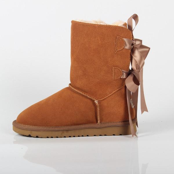 Botas de neve para Adultos Bow Knoted Botas de Couro Genuíno para Adolescentes Lace Up Sapatos de Inverno para As Mulheres Calçado de Neve