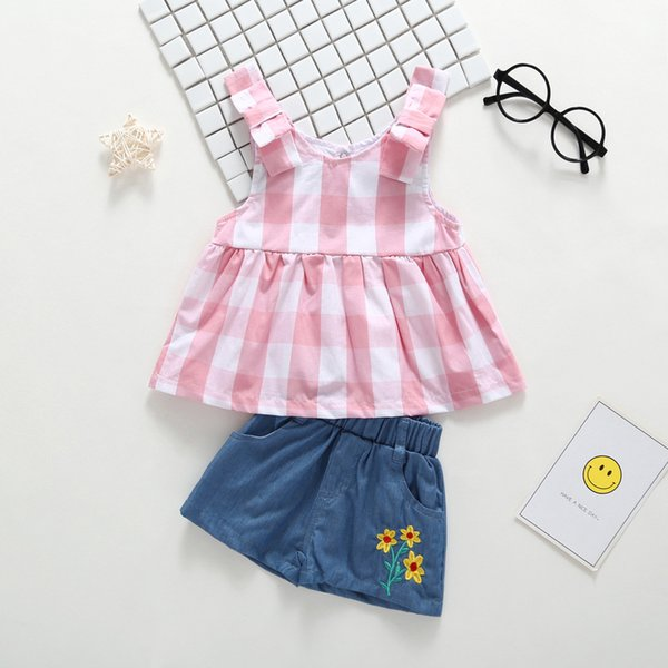 Baby Girls Plaid Braces Dress+Pants Outfits Summer 2018 Kids Boutique Clothing Euro America Little Girls Embroidery Denim Pants 2 PC Sets
