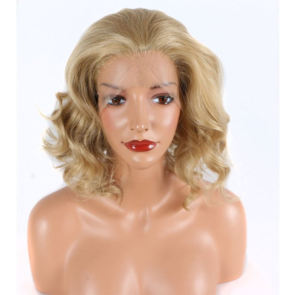 Gold Blonde Short Body Wave Hand Tied Synthetic Lace Front Wig Glueless Heat Resistant Fiber Hair Free Part For Women