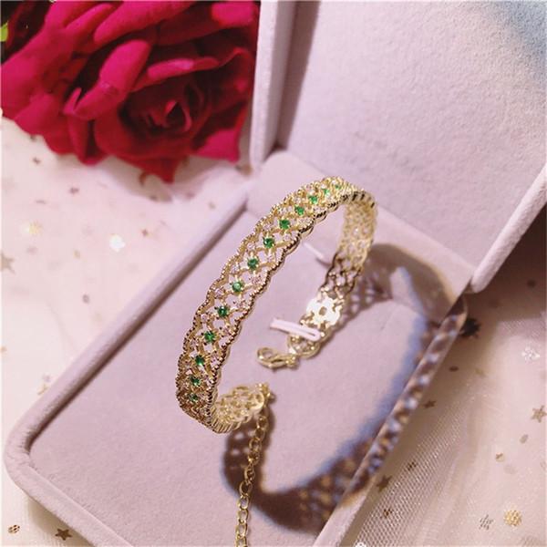 Vintage Bracelets For Women Bangles S925 Sterling Silver 18K Gold Emerald Green Gemstone Luxury Annivesary Bijoux Fine Jewelry