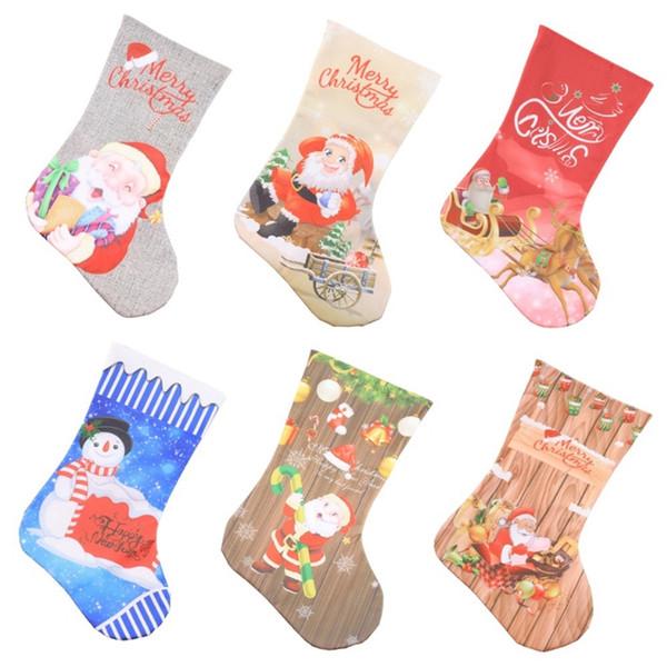 Compre Medias De Navidad Feliz Navidad Bolsas De Regalo Calcetín ...
