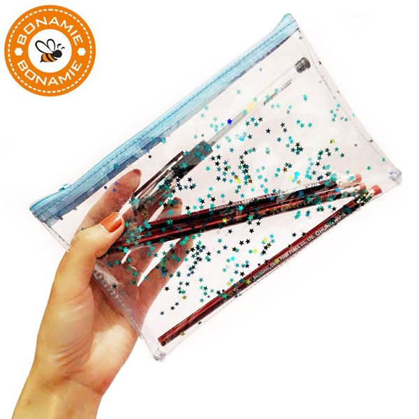 BONAMIE Clear PVC Women Makeup Bag Transparent Cosmetic Bags Travel Stationery Pouch Hologram Laser Shine Star Bling Pencil Bag