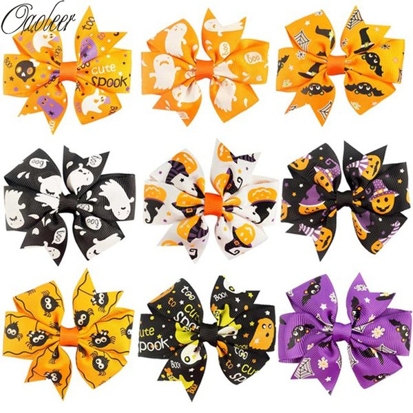 Hot Sale 9 Colors 3inch Halloween Hair Bow With Clips For Girls Pin Wheel Alligator Hair Bows Print Halloween Bow 18pcs /Lot