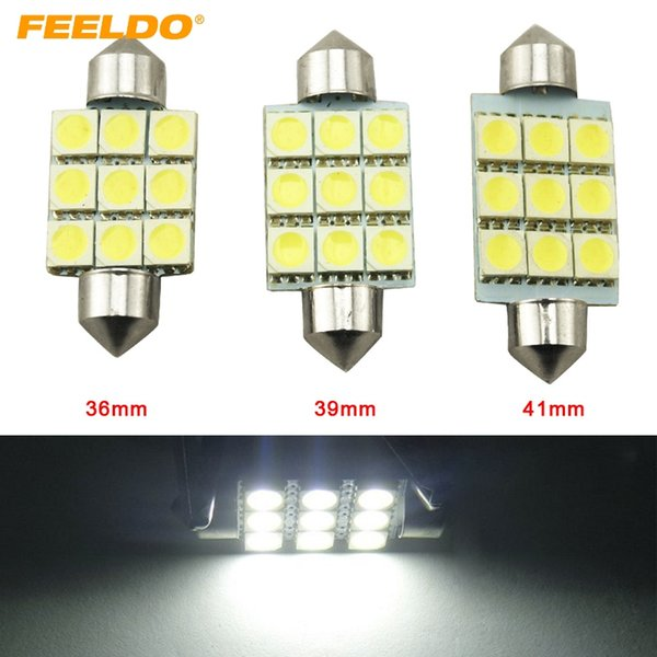 FEELDO 50PCS Blanco 36mm 39mm 41mm 9SMD 5050 Luces LED para automóvil Festoon Dome Bombillas LED Lectura LED Luz 12V # 2789