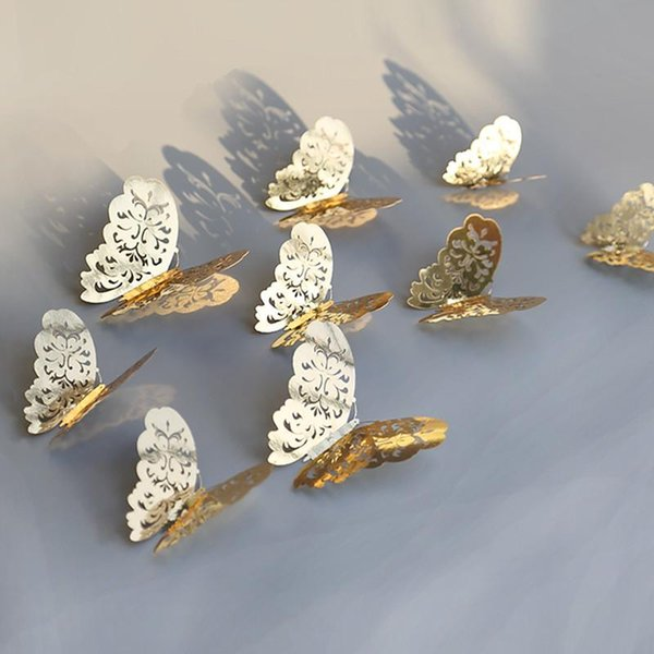 12 pcs 3D Creux Papillon Sticker Mural pour La Décoration Intérieure DIY Papillons Réfrigérateur Autocollants Room Decoration Parti De Mariage Décor