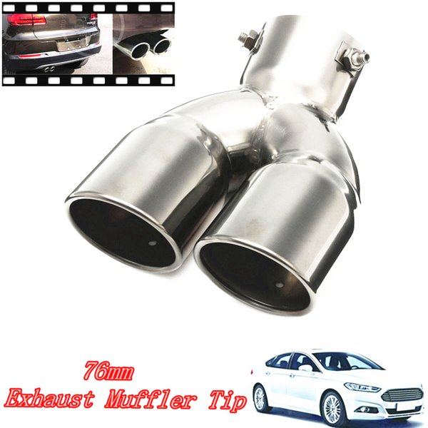 """76mm 3"""" Universal Car Stainless Twin Double Dual Chrome Exhaust Pipe Muffler Tail Tip"""
