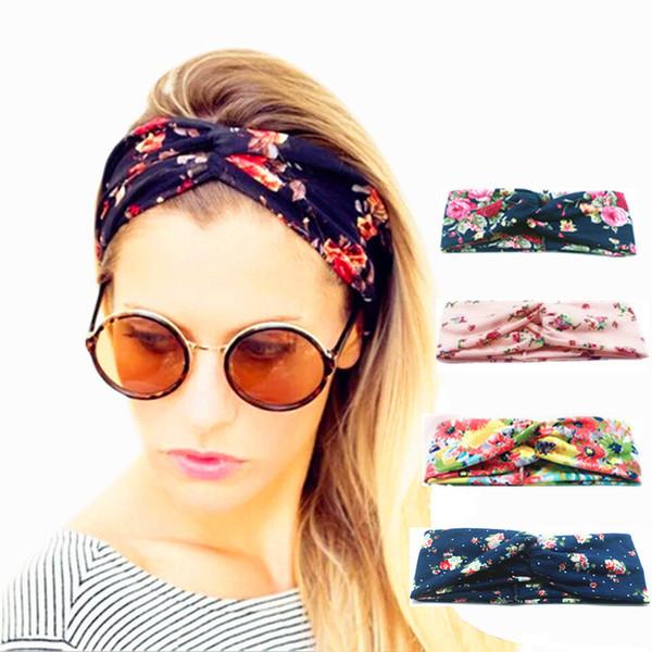 Women Twist Turban Floral designer Prints Headband Stretch Sport Yoga Hairbands For Girls Headwrap Bandana Hair Accessories Jewelry