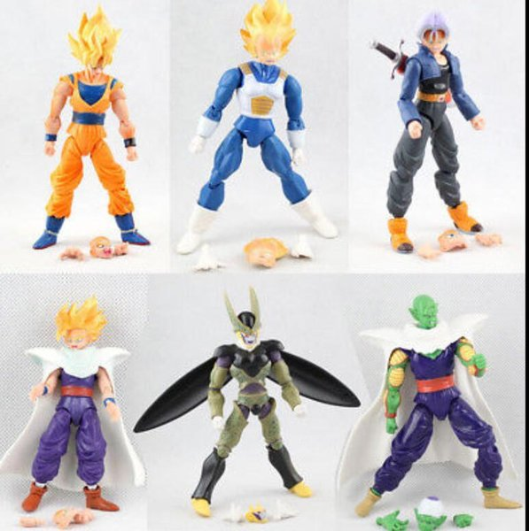 dragon ball 6pcs set Dragonball Z Dragon Ball DBZ Anime Goku Vegeta Piccolo Gohan super saiyan Joint Action Figure Toy KKA5774