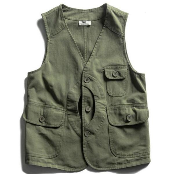 Japan Style Vintage Freizeit Weste einfarbig schlanke Jacken hohe Qualität der Baumwolle Männer Kleidung Tasche Dekoration