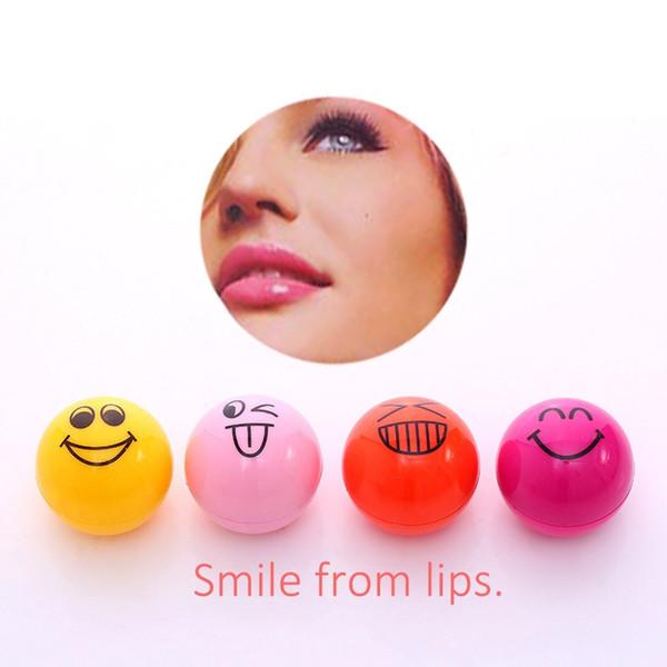 best selling ROMANTIC BEAR Smiling-faces Magic Lip Balm Moisturizing Hydrating Chapstick Spherical Lips Pomade Makeup