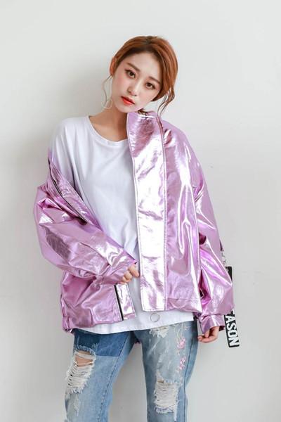 Acheter 2018 Printemps Automne Nouveau Métal Bomber Veste Rose Argent Hologramme Manteau Punk Hip Hop Loosen Occasionnel Femmes Hommes Outwear