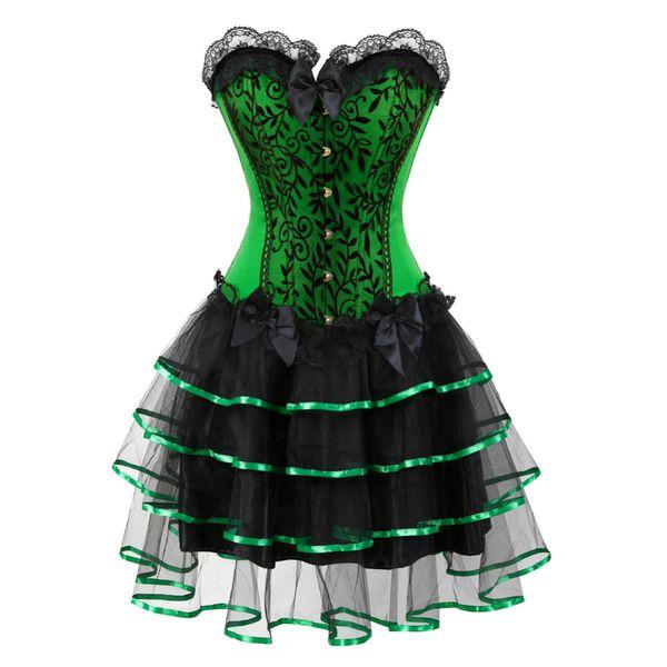 corset victorien robes costumes d'halloween corsets robe bustier avec jupe ensemble mini tutu jupe corselet overbust vert violet