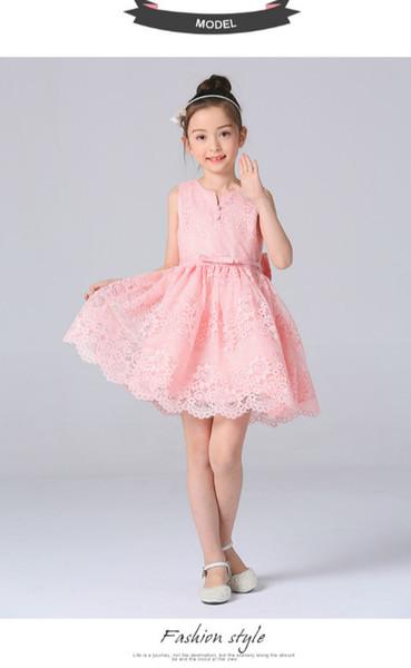 2017 Girls Dress Summer Tank Top Dress Silk Lace Dress Lace Bottom Skirt Big Childrens Costume Flower Girl Dresses With Sleeves Flower Girl