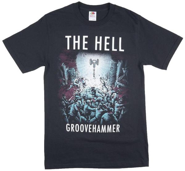The Hell Groovehammer Metal Band Music T-Shirt Shirt Black Classic Cotton Men Round Collar Short Sleeve top tee