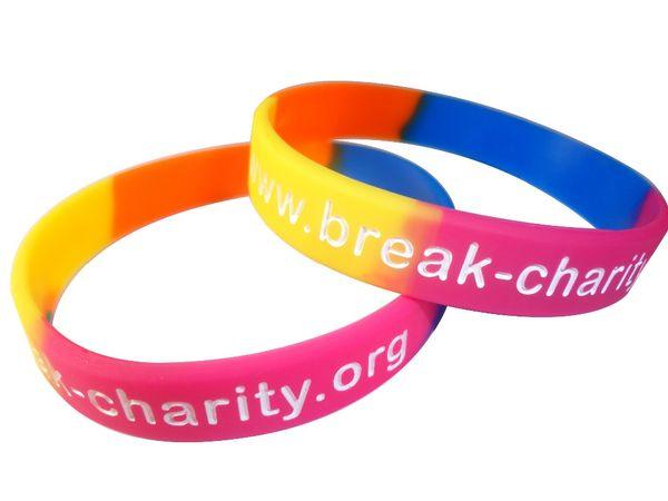 Wholesale custom Debossed logo 500pcs/lot fashion rainbow silicone wristband bracelet for promotional gift or event, FR
