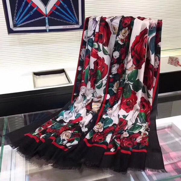 2018 Winter Scarf Cashmere Scarf Women Print Flower Scarf New Designer Wool Shawls Women's Scarves Face Shield Luxury Brand Cashmere Muffler