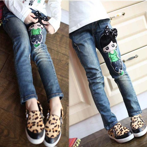 2017 spring female child jeans child trousers doll pattern girls jeans