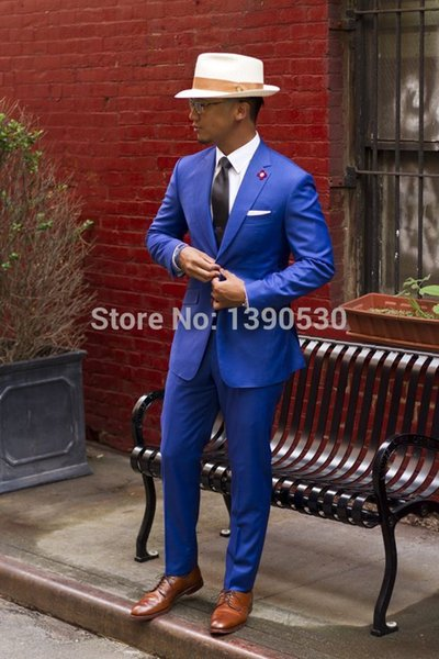 New Arriving Modern Blue 100% wool 2 pieces(jacket+pants) two button with Notch lapel Slim Fit Tailor made suit for men
