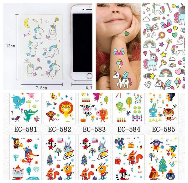 best selling 12*7.5cm INS Waterproof temporary fake tattoo sticker owl animal flower pink unicorn horse cartoon design kids child body art make up tools