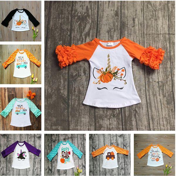 top popular Halloween Baby Girl Clothes Fall Girls Ruffled Sleeve T-shirts Toddler Baby Unicorn Letter Pumpkin Car Cotton Raglan Tops Kids Clothing 2020
