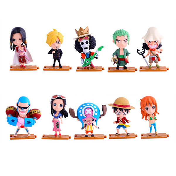 10 pièces / lot One Piece Action Figurines Jouets 10 dessins Luffy Zoro Nami PVC Bande Dessinée Figurines Modèle Jouets Enfants Cadeaux LA630-2