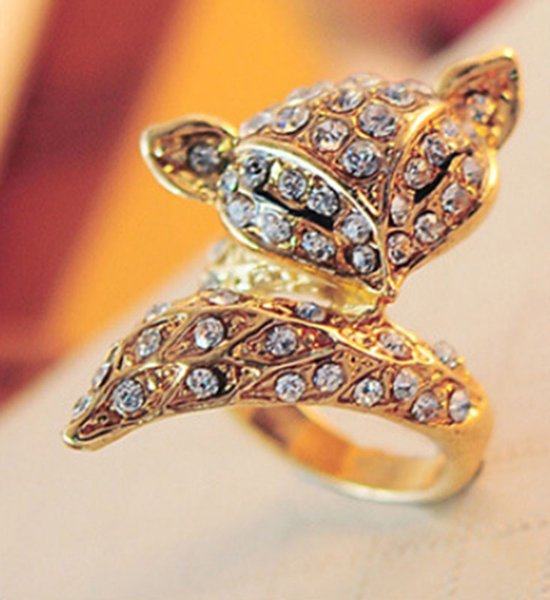 a6b0c19ce Free Shipping Cute Crystal Fox Ring Jewelry Wholesale Gold Silver Plated  Full CZ Diamond Rings Fashion women's Gift for Valentine's Day