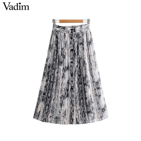 best selling Vadim women chic snake print pleated skirt animal pattern buttons decorate faldas mujer vintage casual mid calf skirts BA214