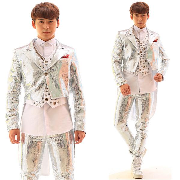 Bailarín de chaqueta de esmoquin de lentejuelas pantalones chaqueta de hombre chaqueta prendas de vestir exteriores bailarina cantante vestido de rendimiento espectáculo club nocturno delgado estrella traje
