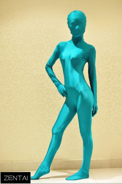 2015 Women Sexy Blue Spandex Lycra All-inclusive Tights Bodysuit Full Body Zentai Catsuit Costumes