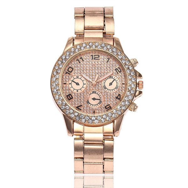 Fashion Full Steel Rose Gold Watch Women Rhinestone Watch Luxury Ladies Quartz Wristwatches Relogios Feminino