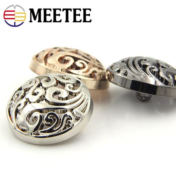 Meetee Metal Buttons 15mm-25mm Hollow Shank Button for Men Women Children Clothing Shirt Coat Button Sewing Accessories
