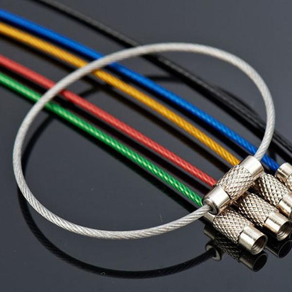 100 Adet EDC tel açık anahtar Paslanmaz çelik anahtarlık anahtarlık halka kilidi gadget daire halat kablo döngü etiketi vida kamp bagaj