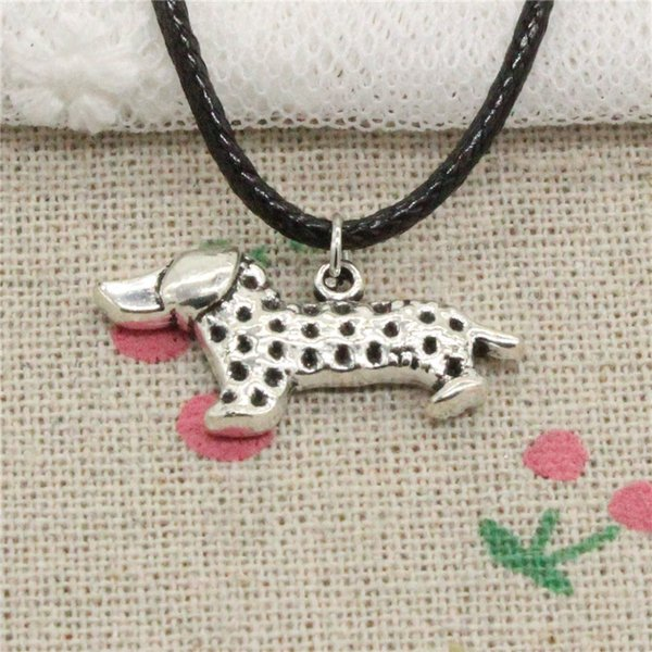 Creative Fashion Antique Silver Pendant dog dachshund 13*28mm Necklace Choker Charm Black Leather Cord Handmade Jewlery