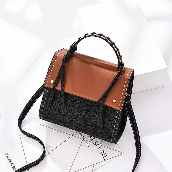 Fashion Women Atmosphere Handbag Panelled Luxury Designer Mujer PU Leather Top-handle High Quality Messenger Crossbody Bags