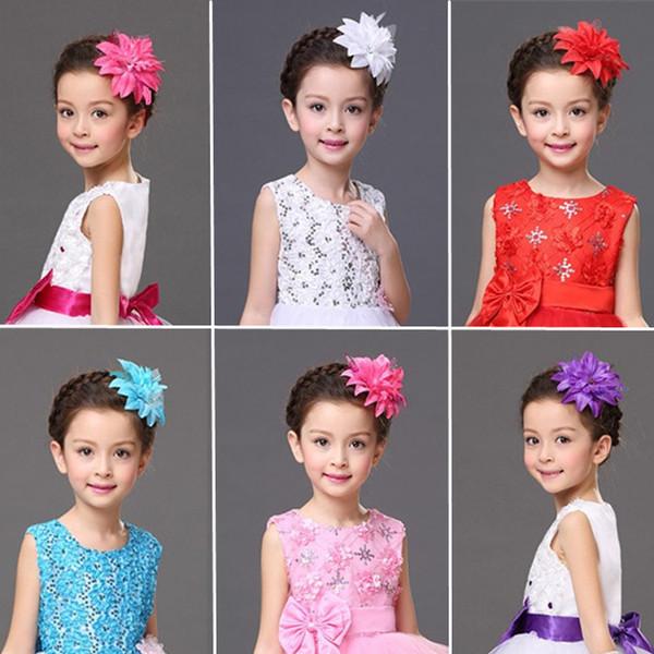 flor de seda pérola fascinador Flapper com alça Cores Headwear acessórios de cabelo grande artificial flor clipe para crianças 13CM