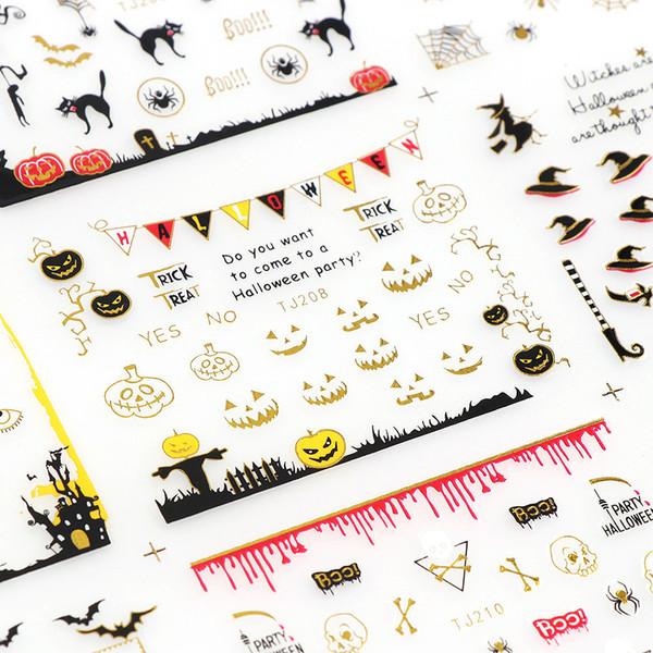 12 Design/Sheet Halloween Design 3D Nail Art Sticker Gold/Silver Side Ghost Pumpkin Nail Sticker Decor Decal Bat