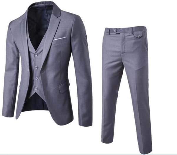 Jacket + Pant + Vest / 2019 New Men Business Slim Suits Sets Wedding Dress Three-piece Suit Blazers Coat Trousers Waistcoat