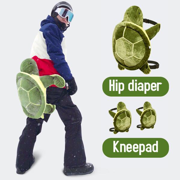 top popular Ski little turtle diaper knee pads set, unisex anti-fall ski equipment, adult children ski protective gear drop mat 2021