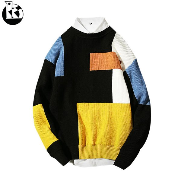 2018 Winter New Korean Version Of The Self-cultivation Round Neck Sweater Men Fashion Casual Trend Color Matching Mens Sweaters