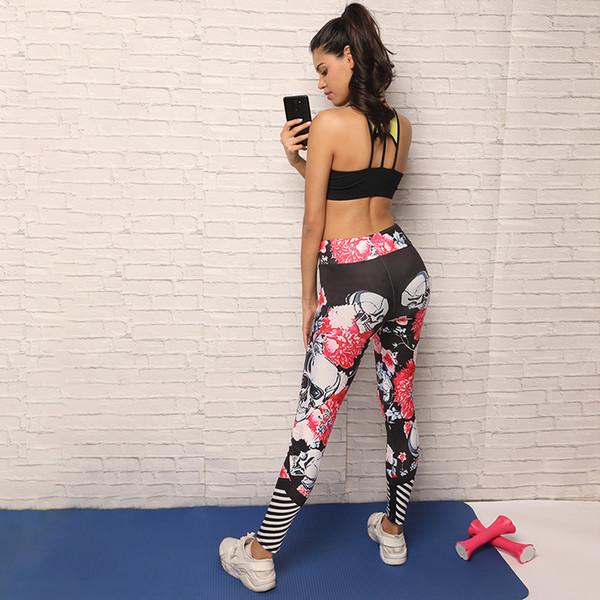 Women Workout Print Yoga Pants Skull Sports Leggings Fitness Stretch Trouser Shantou Elastic Tight Outer Wear Fitness Yoga