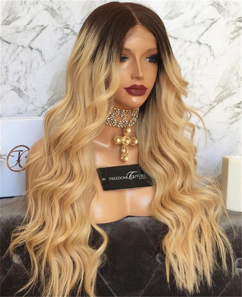 Natural Wave Glueless Ombre#1b 27 Lace Front wavy Human Hair Wigs peruvian Ombre Honey blonde Full Lace Human Hair Wigs For Black Women