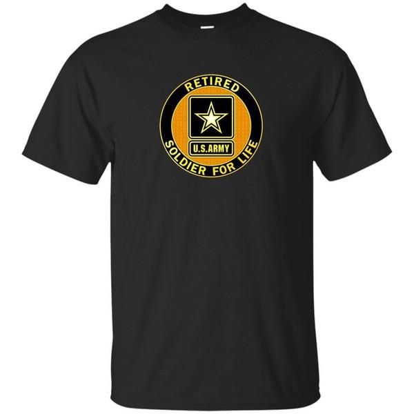 Jubilado Soldado del Ejército de EE. UU. Para la vida Negro Navy Camiseta Veterano Tamaño S-5XL al por mayor 100% Algodón Cool Camisetas lindas Hombre 2018 Alta calidad