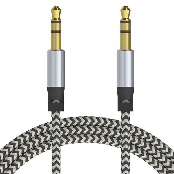 Novo cabo de extensão de áudio do carro aux cabo de nylon trançado 3 m 1 m com fio auxiliar jack estéreo de 3.5mm macho chumbo para apple e andrio telefone celular speaker