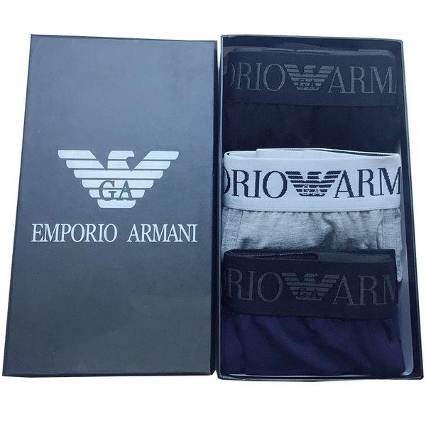 AR Designer De Luxo Homens Underwear Cueca De Algodão Macio Com Caixa de Alta Qualidade Dos Homens Cuecas 3 pcs Venda Quente