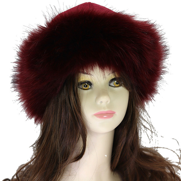 Fur Hat for Women Fluffy faux Fox Fur Russian Ushanka Hats Winter Thick Warm Ears Bomber suede snow Cap Windproof Black white