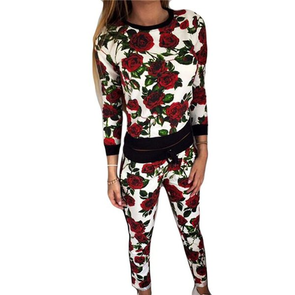 Two Piece Set Women's Tracksuits 2018 Spring Fall Retro Flower Print Top And Pants Sweat Suit Women Hoodies Sweatshirts Vestidos
