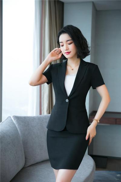 Ladies Summer Black Blazer Women Skirts Suits Office Ladies Business Clothes Work Wear Uniform Styles OL Sets Plus Size